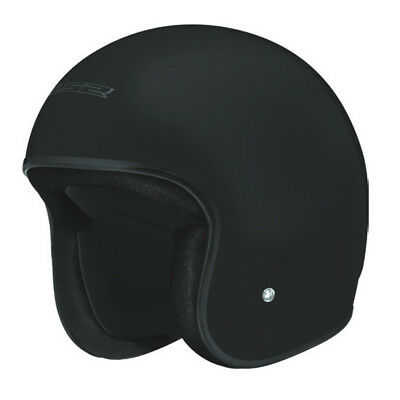 LS2 Jet ECE Open Face Helmet - Matte Black without Studs Motorcycle Road Cruiser