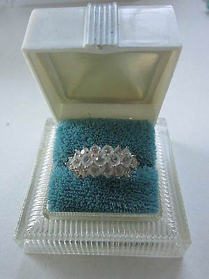 CUBIC ZIRCONIA  RING-CZ-Heavy Gold Plated Ring - Size 7 1/2- Excellent-Vintage
