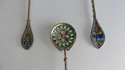 RARE NORWAY CLOISONNE ENAMEL STERLING SILVER 3 TEA SUGAR SPOONS. David Andersen