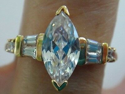 Vintage- CUBIC ZIRCONIA RING -Yellow Gold Plated -Size 10 -Unused Excellent
