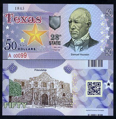 USA States, Texas, $50, Polymer, ND (2017), UNC Samuel Houston, The Alamo