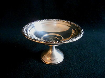 """WALLACE STERLING 5.75"""" FOOTED COMPOTE #168 Monogrammed """"W"""" Cement Weighted"""
