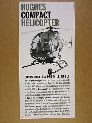 1961 Hughes Compact model Helicopter photo vintage print Ad