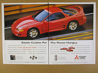 1997 Mitsubishi 3000GT VR-4 red car photo vintage print Ad
