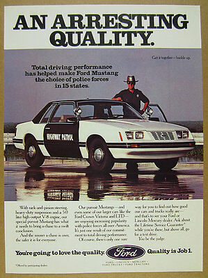 1984 Ford Mustang Pursuit Highway Patrol Police Car photo vintage print Ad