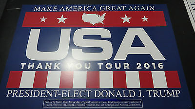 Donald Trump 2016 THANK YOU TOUR RALLY Placard SIGN  AUTHENTIC FROM CAMPAIGN !