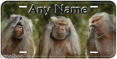 See, Hear, Speak No Evil Monkey Any Name Novelty Auto Car License Plate