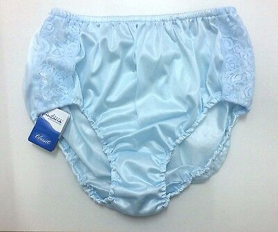 Vintage Pin Up Sheer Nylon Lace Panties Mutandine Sexy Light Blue Big size 3XL