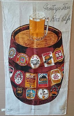 Vintage Tea Towel Pure Linen USED Australia Beer Label Brands  Souvenir