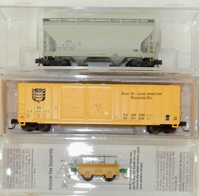 3 x Various Makers N Scale Burlington Northern Freight Cars
