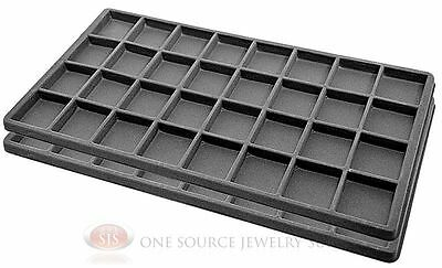 2 Gray Insert Tray Liners W/ 32 Compartments Drawer Organizer Jewelry Displays