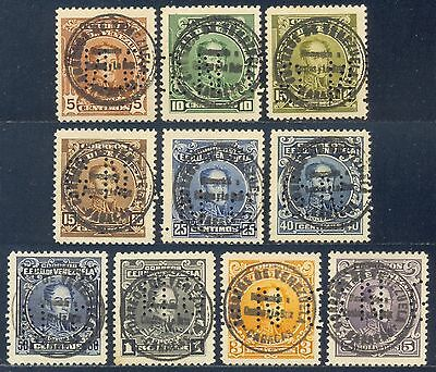 Venezuela 1924/8 Set of 10 Stamps. Costes - Le Brix Postmark with GN perfins
