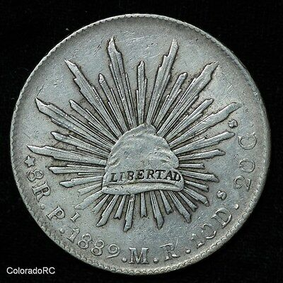 Mexico Silver 8 Reales 8R Pi 1889 M.R. Liberty Cap & Rays Foreign Coin - VF