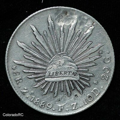 Mexico Silver 8 Reales 8R Zs 1889 F.Z. Liberty Cap & Rays Foreign Coin - AU+