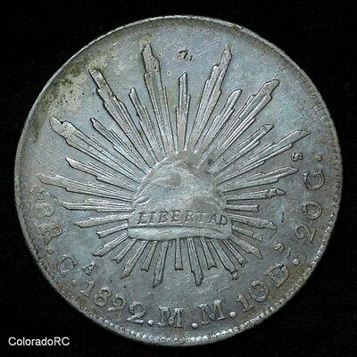 Mexico Silver 8 Reales 8R Ca 1892 M.M. Liberty Cap & Rays Foreign Coin - AU