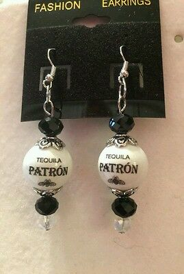 Patron Tequila  Earrings Handcrafted Glass Beaded  Bartender Dangle