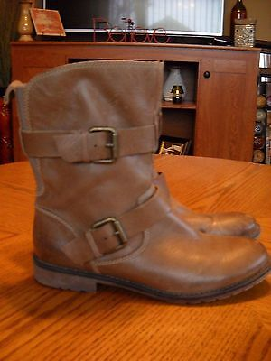 Womens MONTANA Brown Leather Ankle Boots--Harness Straps--Size 7.5 M--GREAT!!