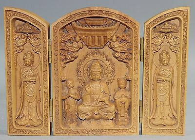 Chinese wood Carved Floding Box --- Bodhisattva & Heart Sutra