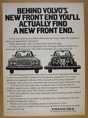 1976 Volvo 264 'New Front End' car art vintage print Ad