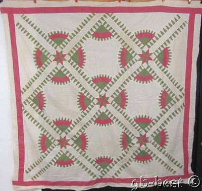 """AMAZING c 1930s Pink Green NY Beauty Vintage Quilt TOP 81 x 81.5"""""""