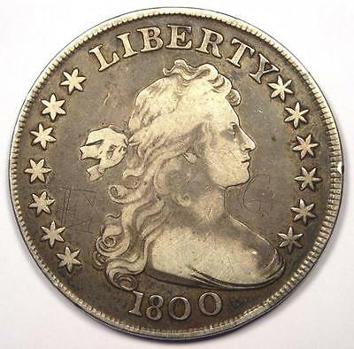 1800 Draped Bust Silver Dollar $1 - Very Fine Details (VF) - Rare Type Coin!