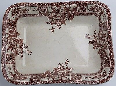 Antique Brown White Transferware Porcelain Bowl LS and S Carfield Beehive Mark