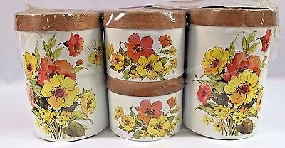 New in Package Vintage Metal 70's Wicker Weave 4 Piece Canister Set