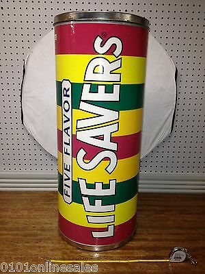RARE LARGE Rainbow Lifesavers GIANT Lidded Candy Roll Cont. VG Cond.Over 2 foot!
