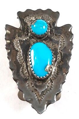 Vintage Old Pawn Sterling Silver .925 Turquoise Arrow Head Bolo Tie Clip!