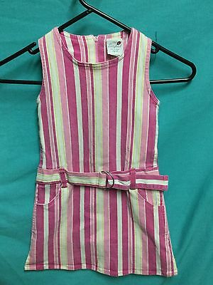 Pink white stripe belted pinafore style dress by Ladybird - Size 4
