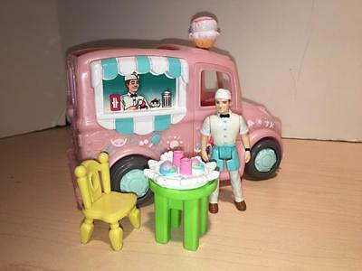 Sweet Streets retired Ice Cream Truck, Man doll, Food Tray, Table & chairs LOT