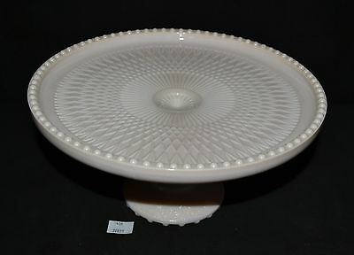 ThriftCHI ~ Jeanette Glass Pink Milk Glass Cake Plate