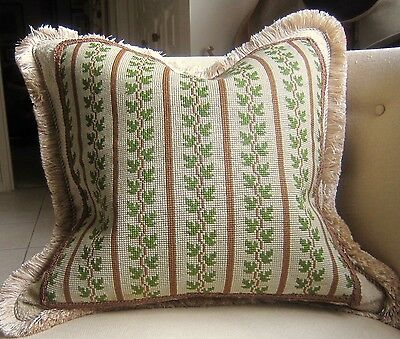 VINTAGE Needlepoint Pillow Cover 20x20 Unusual Green Vines w/ Brown Accents FAB!