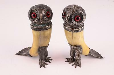 Antique Pair Of Walter Thornhill Sterling And Bone Owl Salt Shakers - Rare