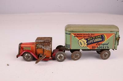 Rare & Early Lindstrom Life Savers Tin Wind Up Truck & Trailer Toy