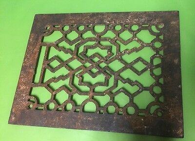 "Antique Cast Iron Fireplace Grill Grate Vent Victorian Hardware 9 3/4"" X 7 3/4"""