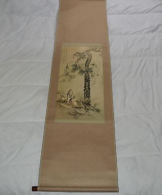ThriftCHI ~ Japanese Silk Scroll Wall Hanging - Man In Nature w Tan Backing