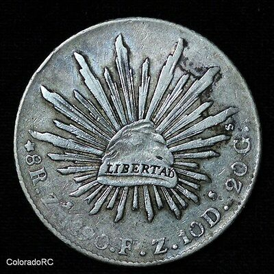 Mexico Silver 8 Reales 8R Zs 1890 F.Z. Liberty Cap and Rays Foreign Coin - Fine