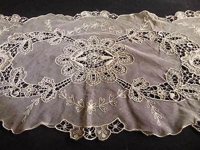"Antique French Tambour Lace Net Runner 45"" Long"