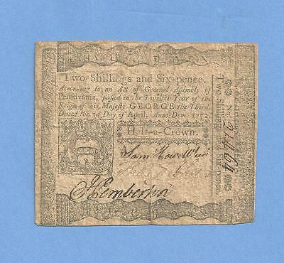 1772 Pennsylvania 2 Shillings 6 Pence Colonial Currency Solid Details Very Fine