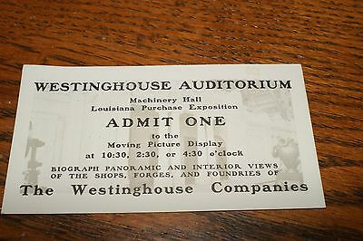 1904 Louisiana Purchase Exposition Westinghouse Auditorium Ticket Excellent