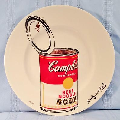 "Andy Warhol Art CAMPBELL'S BEEF NOODLE SOUP DINNER PLATE 10.5"" Ltd Ed Block NEW"