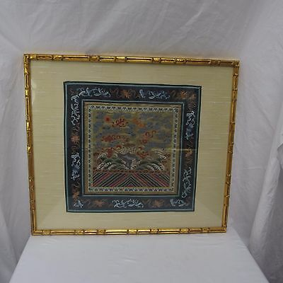 Chinese Embroidered Silk Framed Fu Dog Gold Bamboo Frame