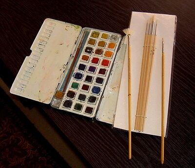 Box of Water Colour Paints - George Rowney's Student Box plus brushes