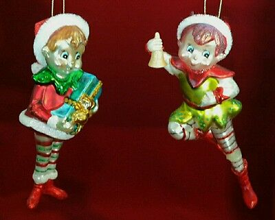 Christmas Elf Vintage Style Set 2 Hand Crafted Glass Ornament Midwest Gift