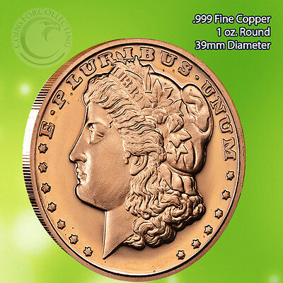 Morgan Dollar 1 oz .999 Copper Round