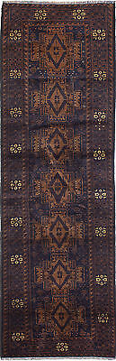 """Hand-knotted Carpet 2'8"""" x 8'11"""" Traditional Brown, Navy Blue Wool Runner Rug"""