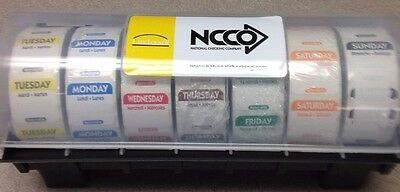 7 ROLL DAY OF THE WEEK DOT FOOD SAFETY LABELS w/ LABEL DISPENSER - FREE SHIPPING