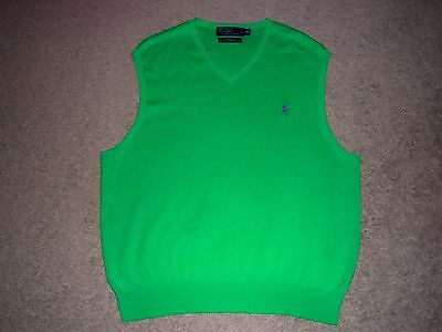 Mens NWOT POLO RALPH LAUREN V-Neck Sweater Vest XL GREEN w/Purple Horse
