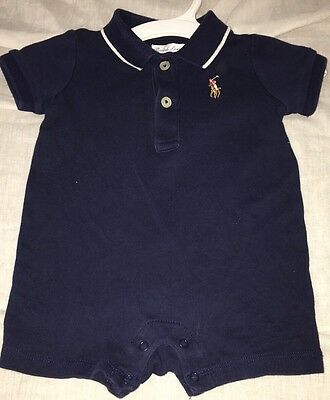 Baby Boys Solid Navy Blue 3 Months Ralph Lauren Polo Short Sleeve One-piece